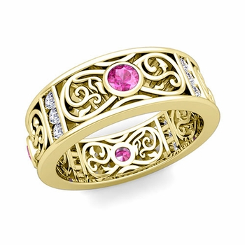 Diamond and Pink Sapphire Celtic Knot Wedding Band Ring in 18k Gold, 7.5mm