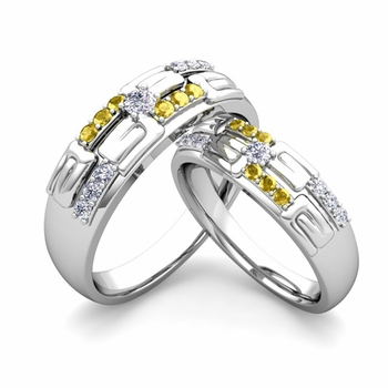 Matching Wedding Ring in 14k Gold Unique Diamond Yellow Sapphire Wedding Band