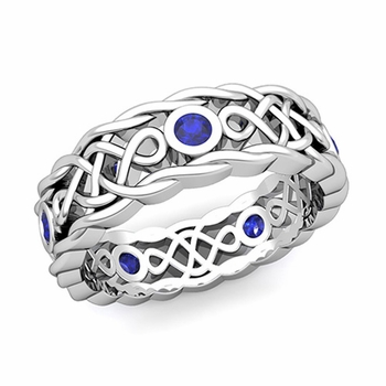 Brilliant Sapphire Ring in 14k Gold Celtic Knot Wedding Band, 7mm