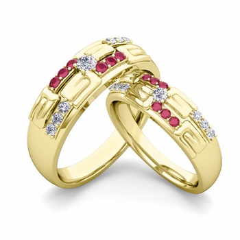 Matching Wedding Ring in 18k Gold Unique Diamond and Ruby Wedding Band