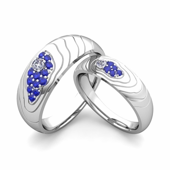 Matching Wedding Ring in 14k Gold Contour Diamond and Sapphire Wedding Band