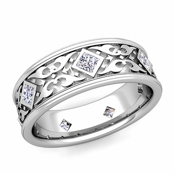 Celtic Wedding Band for Men in Platinum Princess Cut Diamond Ring, 7.5mm