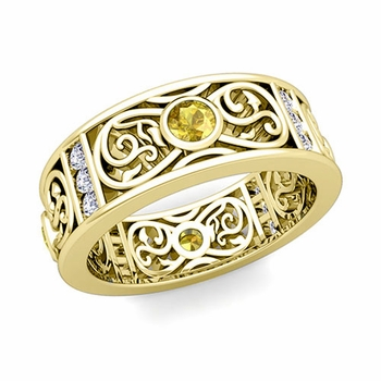 Diamond and Yellow Sapphire Celtic Knot Wedding Band Ring in 18k Gold, 7.5mm