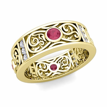 Diamond and Ruby Celtic Knot Wedding Band Ring in 18k Gold, 7.5mm