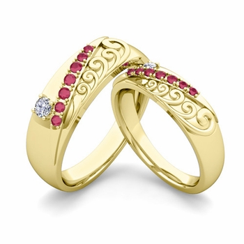 Matching Wedding Band in 18k Gold Unique Diamond and Ruby Wedding Rings