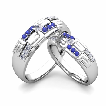 Matching Wedding Ring in 14k Gold Unique Diamond and Sapphire Wedding Band