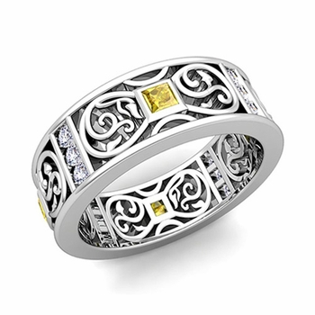 Princess Cut Celtic Knot Yellow Sapphire Wedding Band Ring in Platinum, 7.5mm