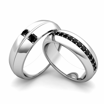 Matching Wedding Ring: Black Diamond Comfort Fit Wedding Band Set in 14k Gold