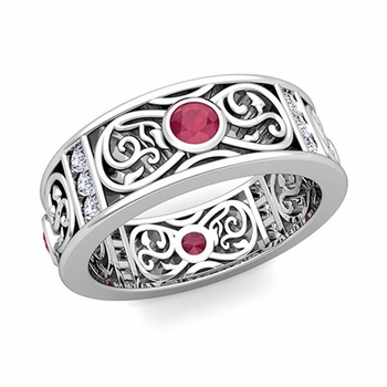 Diamond and Ruby Celtic Knot Wedding Band Ring in 14k Gold, 7.5mm