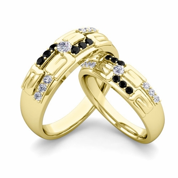 Matching Wedding Ring in 18k Gold Unique Black and White Diamond Wedding Band