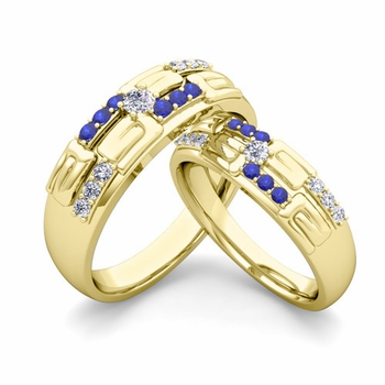 Matching Wedding Ring in 18k Gold Unique Diamond and Sapphire Wedding Band