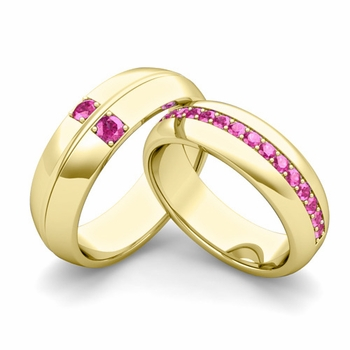 Matching Wedding Ring: Pink Sapphire Comfort Fit Wedding Band Set in 18k Gold