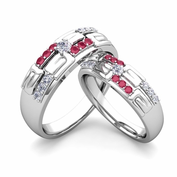 Matching Wedding Ring in 14k Gold Unique Diamond and Ruby Wedding Band