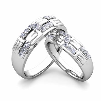 Matching Wedding Ring in Platinum Unique Diamond Wedding Band