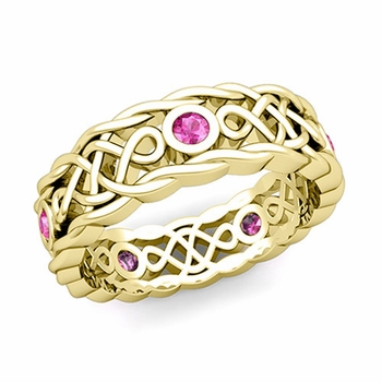 Brilliant Pink Sapphire Ring in 18k Gold Celtic Knot Wedding Band, 7mm