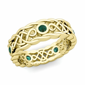 Brilliant Emerald Ring in 18k Gold Celtic Knot Wedding Band, 7mm