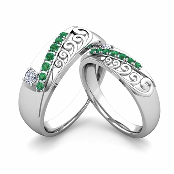 Matching Wedding Band in Platinum Unique Diamond and Emerald Wedding Rings