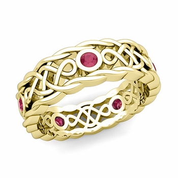 Brilliant Ruby Ring in 18k Gold Celtic Knot Wedding Band, 7mm