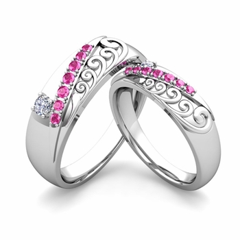Matching Wedding Band in 14k Gold Unique Diamond Pink Sapphire Wedding Rings