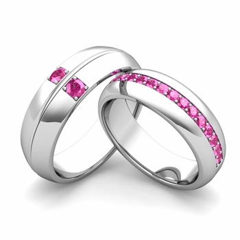 Matching Wedding Ring: Pink Sapphire Comfort Fit Wedding Band Set in 14k Gold