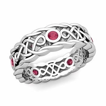 Brilliant Ruby Ring in 14k Gold Celtic Knot Wedding Band, 7mm