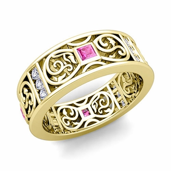 Princess Cut Celtic Knot Pink Sapphire Wedding Band Ring in 18k Gold, 7.5mm