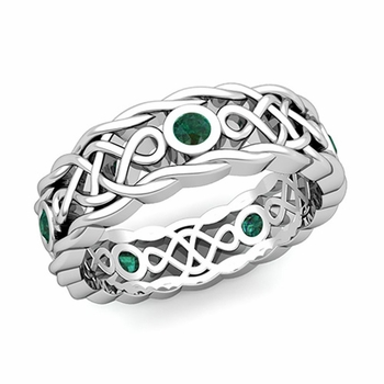 Brilliant Emerald Ring in 14k Gold Celtic Knot Wedding Band, 7mm