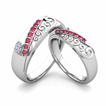 Matching Wedding Band in Platinum Unique Diamond and Ruby Wedding Rings