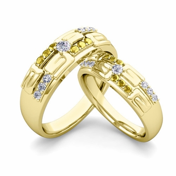Matching Wedding Ring in 18k Gold Unique Diamond Yellow Sapphire Wedding Band