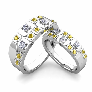 Matching Wedding Ring in 14k Gold Plaid Diamond Yellow Sapphire Wedding Band