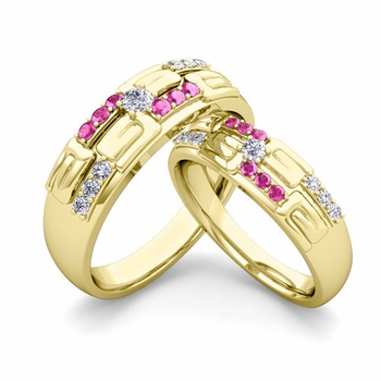 Matching Wedding Ring in 18k Gold Unique Diamond Pink Sapphire Wedding Band