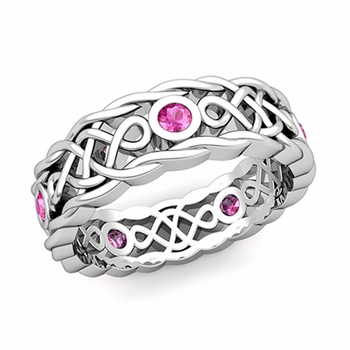 Brilliant Pink Sapphire Ring in 14k Gold Celtic Knot Wedding Band, 7mm