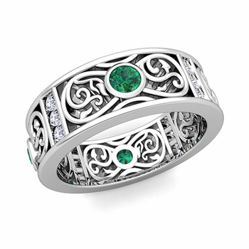 Diamond and Emerald Celtic Knot Wedding Band Ring in Platinum, 7.5mm