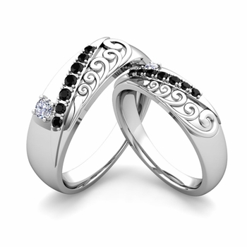 Matching Wedding Band in Platinum Unique Black and White Diamond Wedding Rings