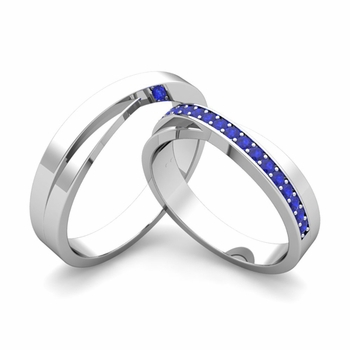 Matching Wedding Bands: Infinity Sapphire Wedding Ring Set in 14k Gold