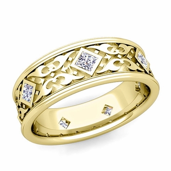 Celtic Wedding Band for Men in 18k Gold Princess Cut Diamond Ring, 7.5mm