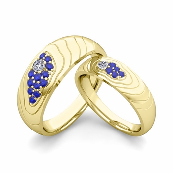 Matching Wedding Ring in 18k Gold Contour Diamond and Sapphire Wedding Band