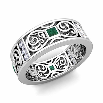 Princess Cut Celtic Knot Emerald Wedding Band Ring in 14k Gold, 7.5mm