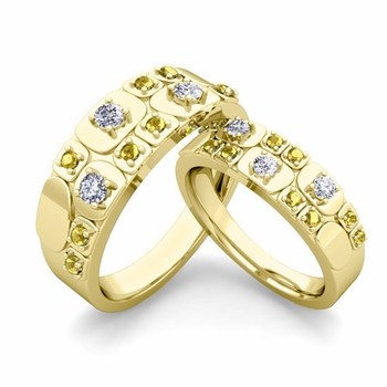 Matching Wedding Ring in 18k Gold Plaid Diamond Yellow Sapphire Wedding Band