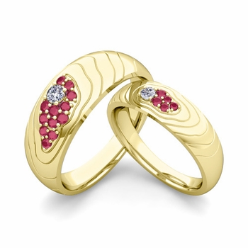 Matching Wedding Ring in 18k Gold Contour Diamond and Ruby Wedding Band