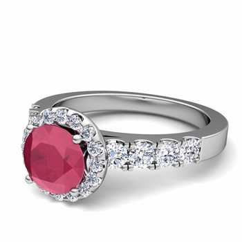 Brilliant Pave Set Diamond and Ruby Halo Engagement Ring in 14k Gold, 5mm