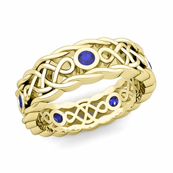 Brilliant Sapphire Ring in 18k Gold Celtic Knot Wedding Band, 7mm