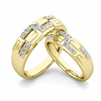 Matching Wedding Ring in 18k Gold Unique Diamond Wedding Band
