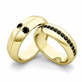 Matching Wedding Ring: Black Diamond Comfort Fit Wedding Band Set in 18k Gold