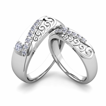 Matching Wedding Band in Platinum Unique Diamond Wedding Rings