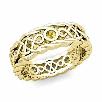Brilliant Yellow Sapphire Ring in 18k Gold Celtic Knot Wedding Band, 7mm