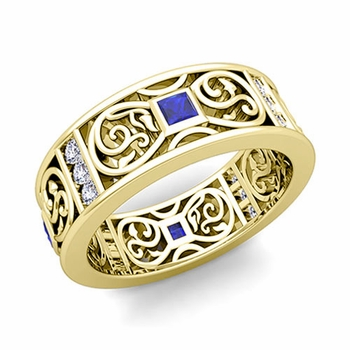 Princess Cut Celtic Knot Sapphire Wedding Band Ring in 18k Gold, 7.5mm