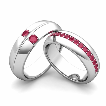 Matching Wedding Ring: Ruby Comfort Fit Wedding Band Set in 14k Gold