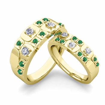 Matching Wedding Ring in 18k Gold Plaid Diamond and Emerald Wedding Band