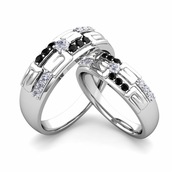 Matching Wedding Ring in 14k Gold Unique Black and White Diamond Wedding Band